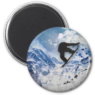 Snowboarder en vuelo imán