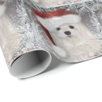 Snowdrop el papel de embalaje maltés del navidad papel de regalo