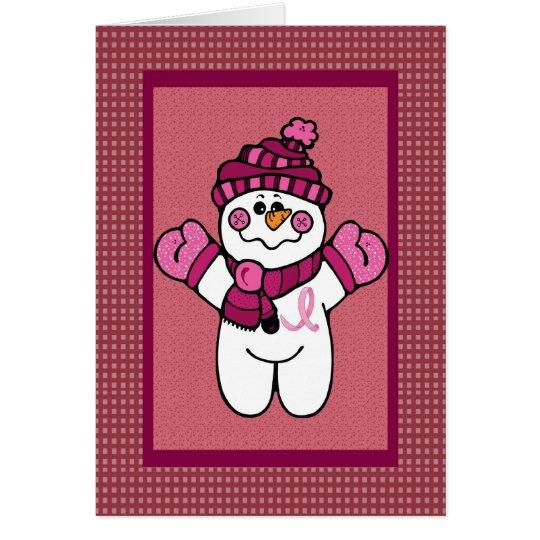 snowwoman rosado de la cinta tarjeta de felicitación