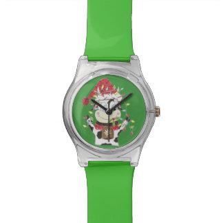 Snwowbell la vaca y Navidad enciende el reloj