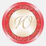 Sobre del boda del monograma de Jazmene Etiquetas Redondas