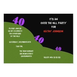 Sobre la colina 40.a la fiesta de cumpleaños invitación 12,7 x 17,8 cm