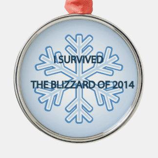 Sobreviví la ventisca del copo de nieve 2014 adorno navideño redondo de metal