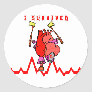 Sobreviví un ataque del corazón pegatina redonda