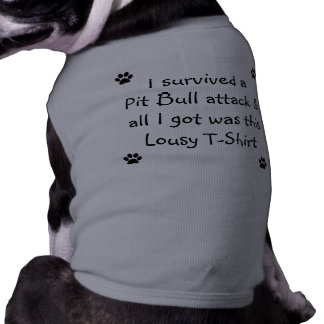 Sobreviví un ataque del pitbull… camiseta sin mangas para perro