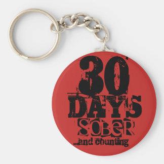 Sobriedad de 30 días llavero redondo tipo chapa