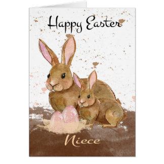 Sobrina, conejos de conejito de la acuarela y tarjeta de felicitación