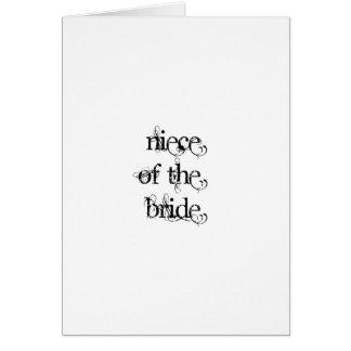 Sobrina de la novia tarjeta de felicitación