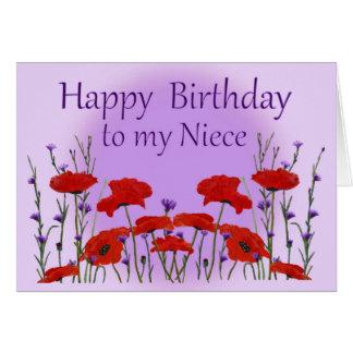 Sobrina del feliz cumpleaños, campo de amapolas tarjeta de felicitación