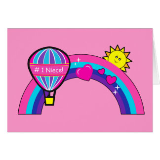 Sobrina del feliz cumpleaños con Sun y el arco Tarjeta De Felicitación