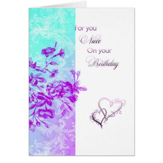 Sobrina del feliz cumpleaños (púrpura) tarjeta de felicitación