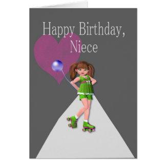 Sobrina del feliz cumpleaños, Rollerskates Felicitacion