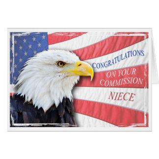 Sobrina, encargando con un águila calva tarjeta de felicitación