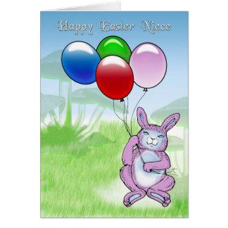 Sobrina feliz de Pascua con el conejo y los globos Tarjeta De Felicitación