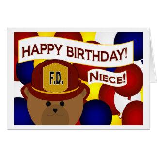 ¡Sobrina - héroe del bombero del feliz cumpleaños! Tarjeta De Felicitación