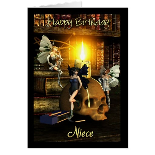 sobrina, luces de hadas - tarjeta de cumpleaños de