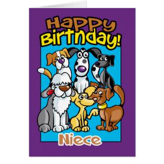 Sobrina, perros de la celebración del cumpleaños, tarjeta de felicitación