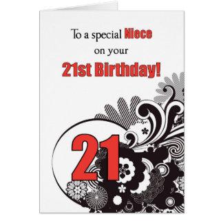 Sobrina, remolinos religiosos del 21ro cumpleaños tarjeta de felicitación