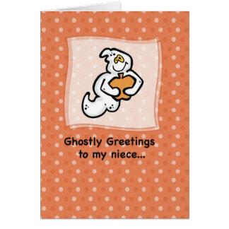 Sobrina, saludos fantasmales tarjeta de felicitación