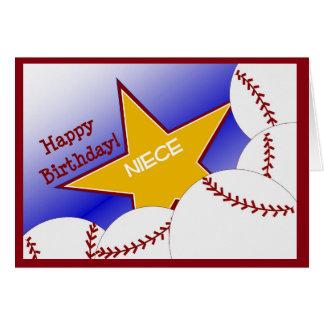 ¡Sobrina - sobrina cariñosa del béisbol del feliz Tarjeta De Felicitación