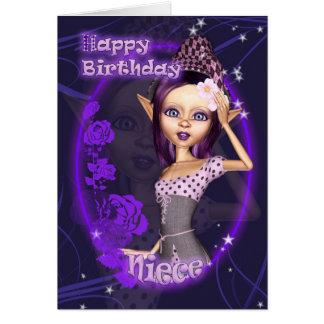 Sobrina - tarjeta de cumpleaños con el duende lind