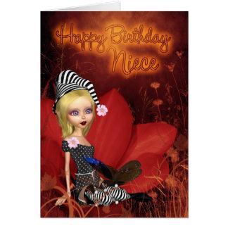 Sobrina, tarjeta de cumpleaños con el duende lindo