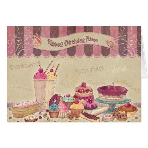 Sobrina - tarjeta de cumpleaños - tortas y dulces