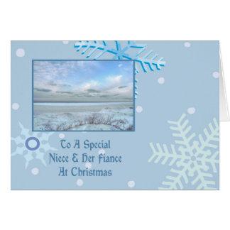 Sobrina y su navidad del lago winter del prometido tarjeta de felicitación