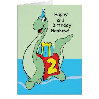 Sobrino, 2do dinosaurio del cumpleaños tarjeta de felicitación