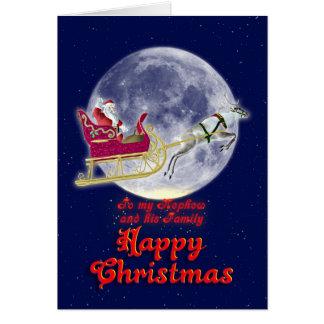 Sobrino de las Felices Navidad con santa en su Tarjeta De Felicitación