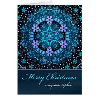 Sobrino de las Felices Navidad, copos de nieve Tarjeta De Felicitación