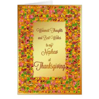 Sobrino, deseos de la acción de gracias con las tarjeta de felicitación