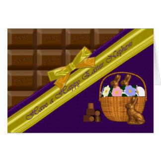Sobrino feliz de Pascua, tarjeta del chocolate
