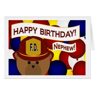 ¡Sobrino - héroe del bombero del feliz cumpleaños! Tarjeta De Felicitación
