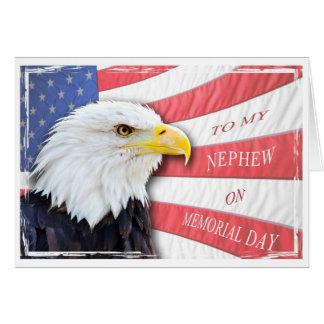 Sobrino, Memorial Day, con un águila calva Tarjeta De Felicitación