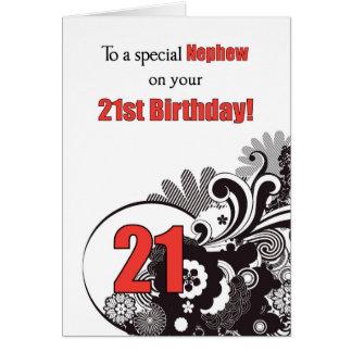 Sobrino, remolinos religiosos del 21ro cumpleaños tarjeta de felicitación