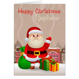 Sobrino Santa con el saco y los regalos, tarjeta