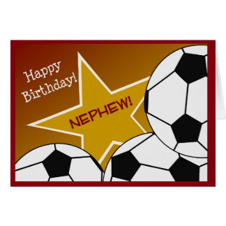¡Sobrino - sobrino cariñoso del fútbol del feliz Tarjeta De Felicitación