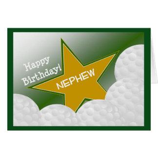 Sobrino - sobrino cariñoso del golf del feliz tarjeta de felicitación
