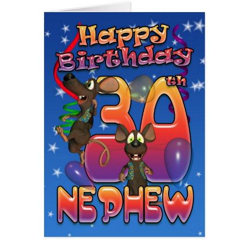 Sobrino - trigésima tarjeta de cumpleaños colorida