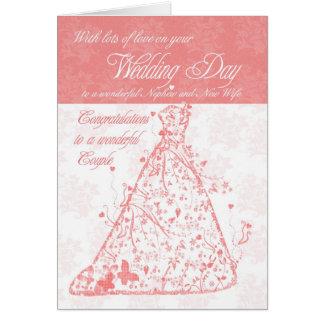 Sobrino y nueva enhorabuena del día de boda de la tarjeta de felicitación