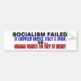 ¡Socialismo Grecia LISIADA Obama, así que LO QUIER Pegatina Para Coche
