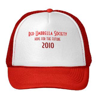 Sociedad roja del paraguas gorras