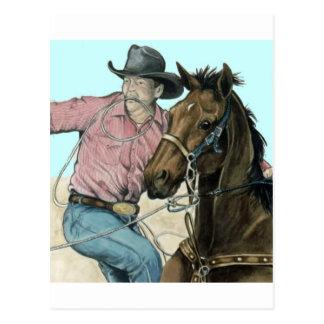 Socios del RODEO, buey del vaquero que lucha Postal