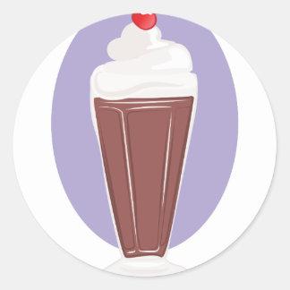 Soda del chocolate pegatina redonda