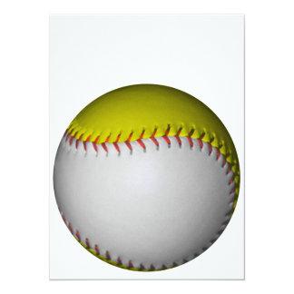 Softball/béisbol blancos y amarillos invitación 13,9 x 19,0 cm