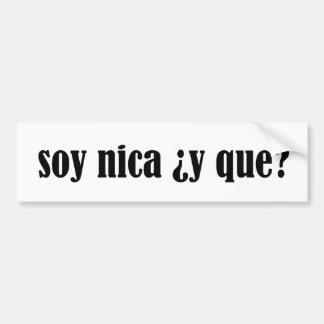 Soja Nica y Que Etiqueta De Parachoque