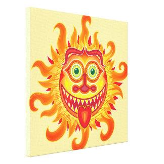 Sol brillante del verano que hace muecas y que impresión en lienzo