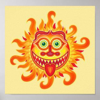 Sol brillante del verano que hace muecas y que póster