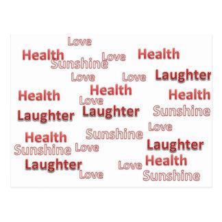 sol de la risa de la salud del amor postal